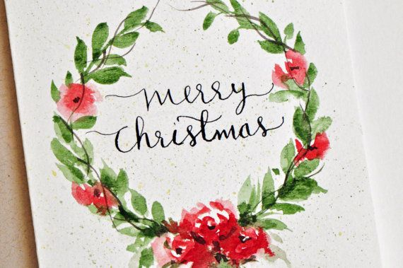 570x379 Hand Painted Watercolor Christmas Card Watercolor Flowers Wreath