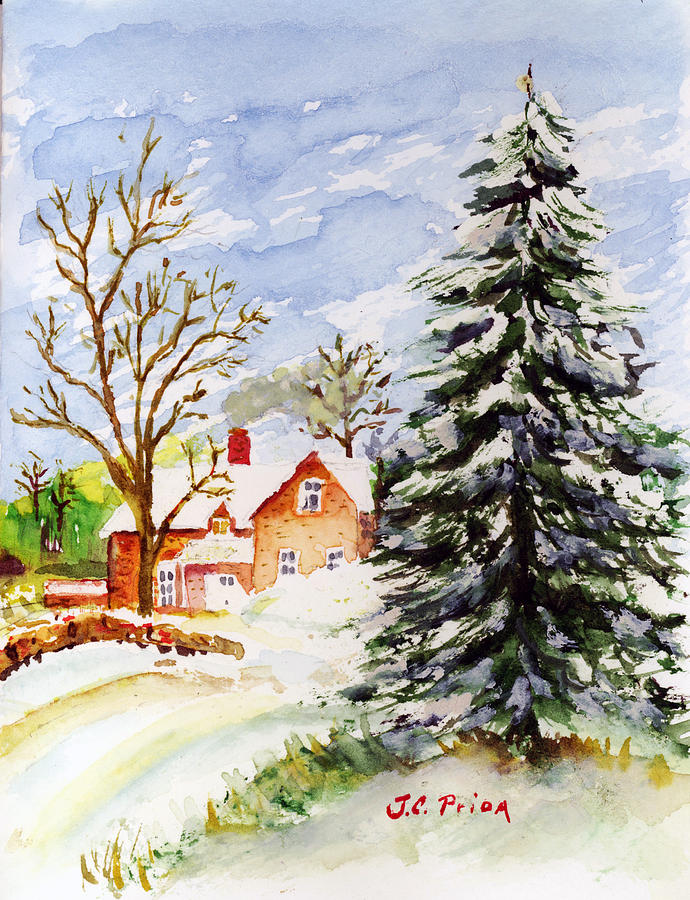 690x900 Home For Christmas Painting By Jc Prida