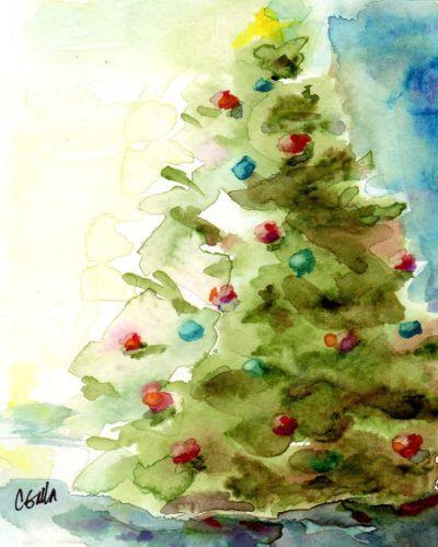 400x500 Christmas Watercolors Paintings