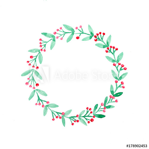 500x500 Christmas Wreath Watercolor Drawing On White Paper Background