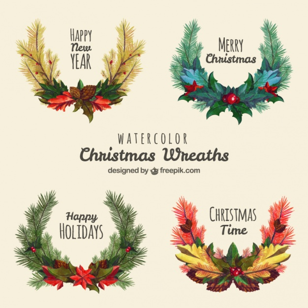 626x626 Pack Of Four Christmas Wreaths In Watercolor Style Vector Free