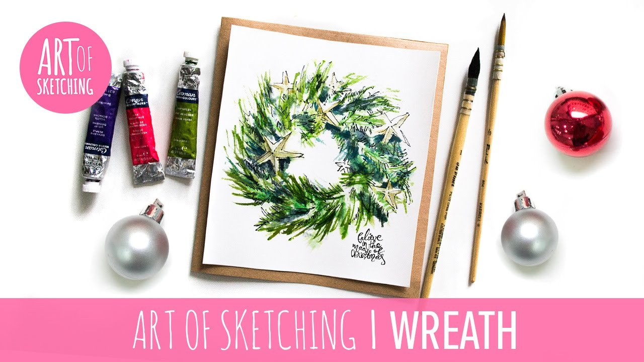 1280x720 Christmas Diy Card Cute Christmas Wreath Illustration With