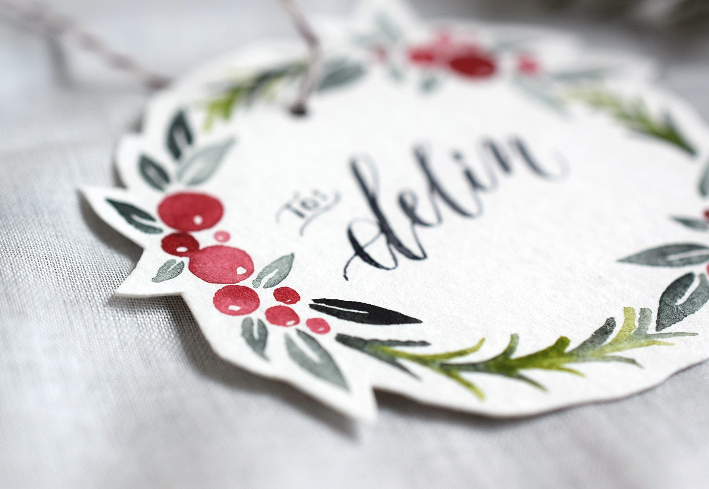 1440x995 Watercolor Holiday Wreath Tutorial + Free Printable The