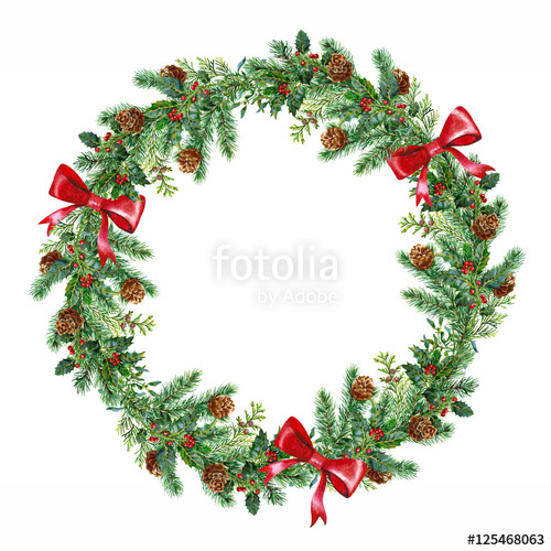 500x500 Christmas Wreath Watercolor On The White Background Stock Photo