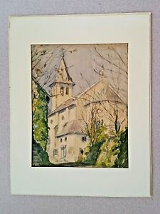 225x300 Huggins Signed 1949 Church Watercolor Painting Rare Gc Framed! Ebay