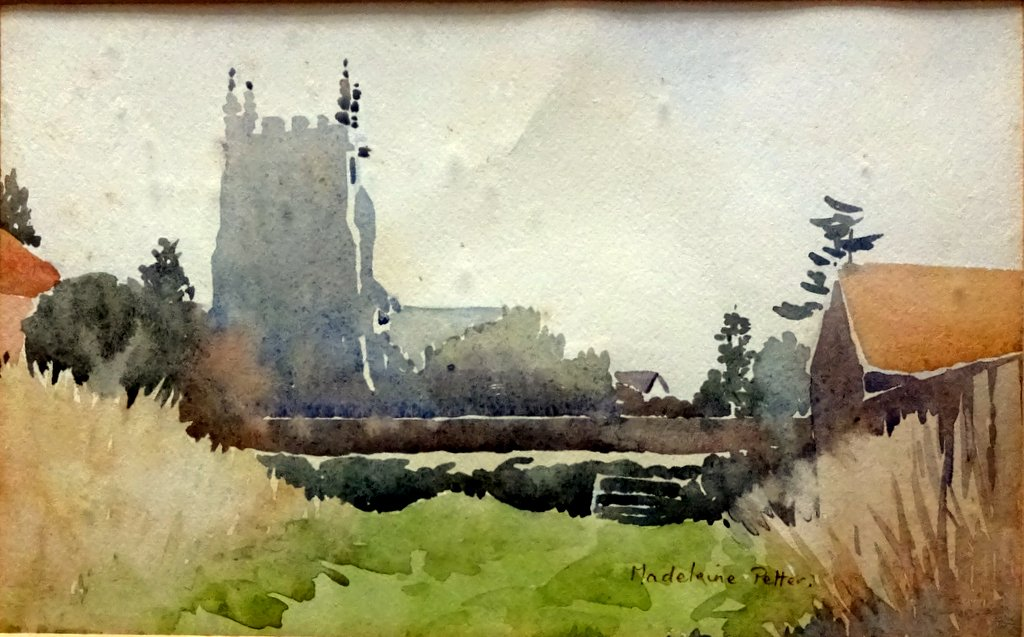 1024x637 The Church, Watercolour, Signed Madeleine Petter, C1950. Framed.