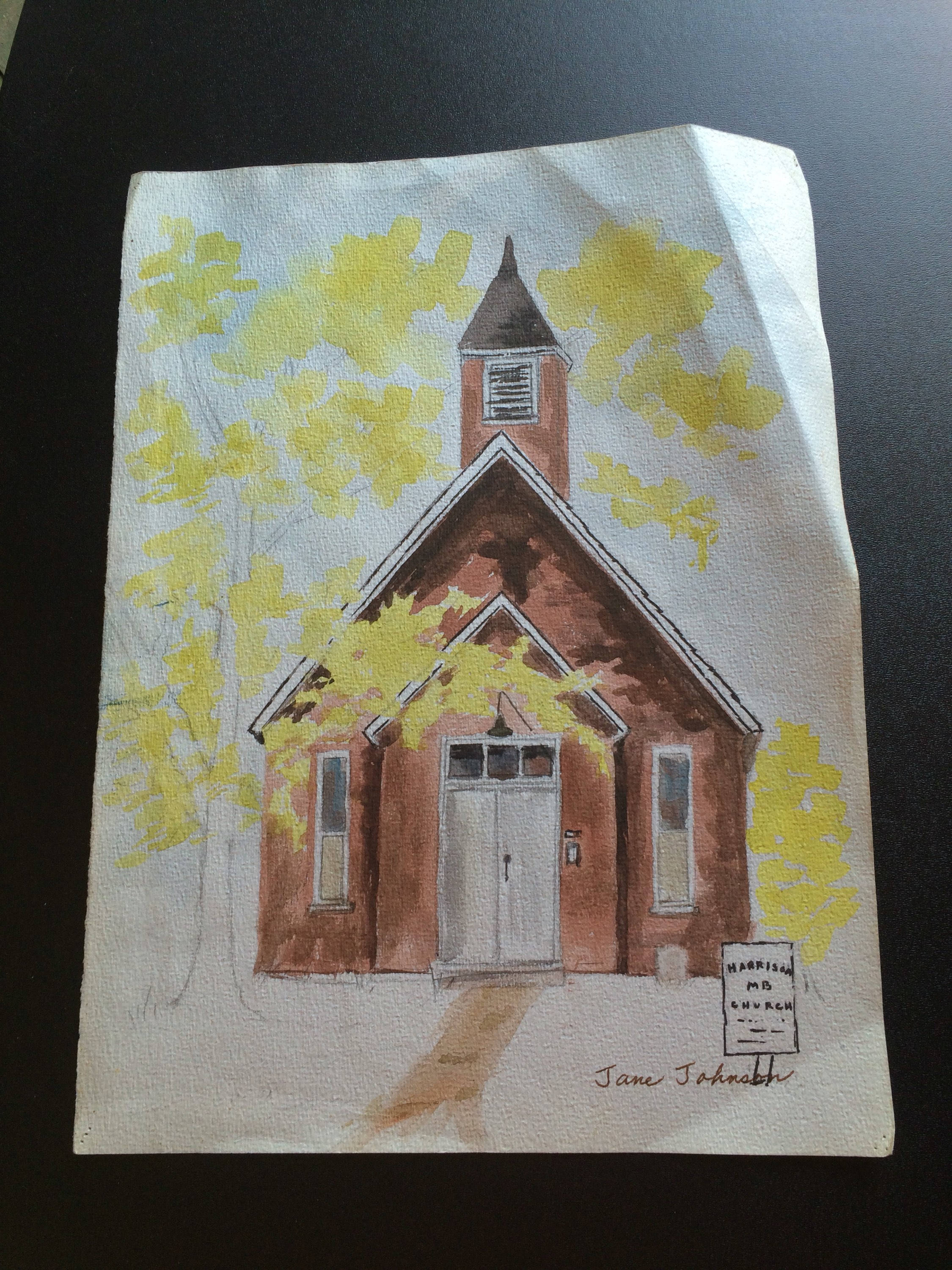 2250x3000 Vintage Watercolor Painting Of Country Church On Sepia Paper