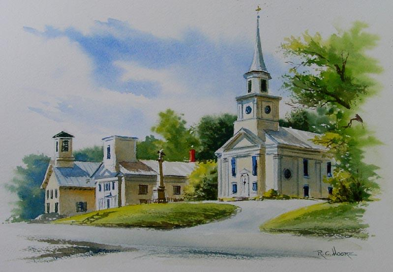 799x553 Watercolor Painting Of Vermont Methodist Church
