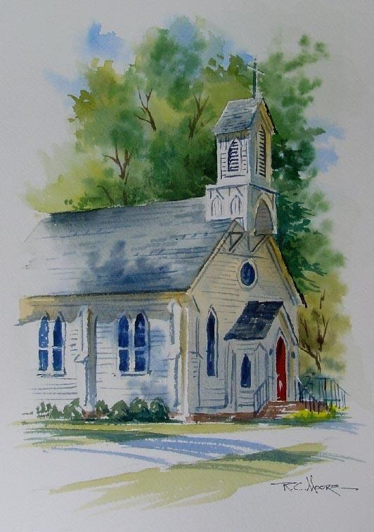 532x757 White Church With Soft Edges. Love The Sky And Front Lawn