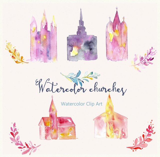642x628 Church And Temple Watercolor Clip Art Hand Drawn. Church And Etsy