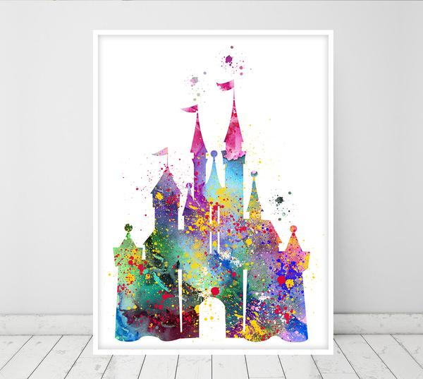 600x537 Cinderella Castle Art Watercolor Print, Princess Castle Wall Art