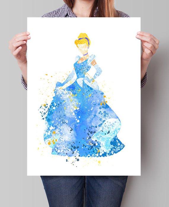 570x697 Cinderella Disney Print Princess Watercolor Cinderella Etsy