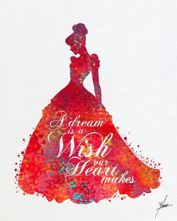 576x720 Cinderella Disney Inspired Princess Watercolor Print Archival Fine
