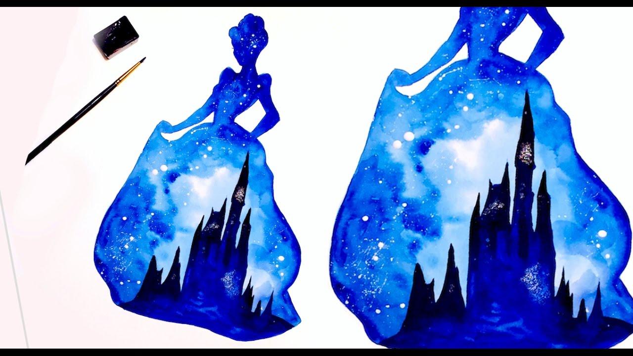 1280x720 Cinderella Double Exposure Watercolor Painting