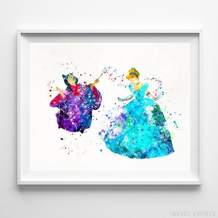 699x699 Cinderella Fairy Godmother Wall Art Disney Watercolor Poster Home