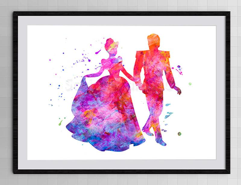 800x612 Cinderella Prince Charming Watercolor Art Print Giclee Home Decor