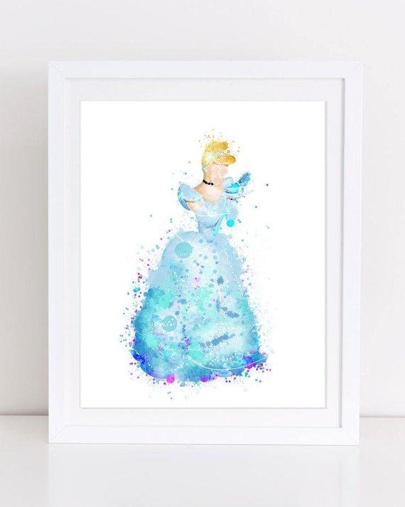 570x713 Cinderella Princess Watercolor Cinderella Glass Slipper Poster Etsy