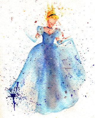 320x399 A Watercolour Splash Style Painting Of Cinderella D