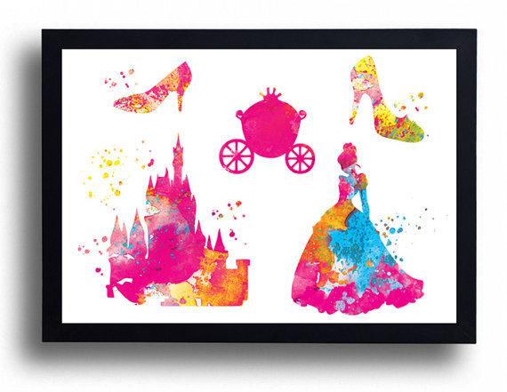 570x441 Cinderella Watercolor Art Print Disney Castle Princess