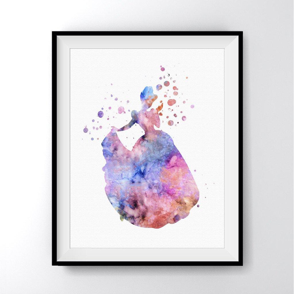 1024x1024 Cinderella Watercolor Art Print Poster
