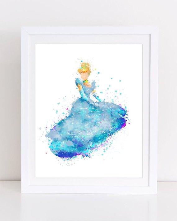570x713 Cinderella Watercolor Poster Princess Poster Disney Princess Etsy