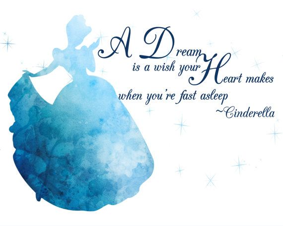 570x456 Cinderella Watercolor Silhouette With Quote 10 X 8