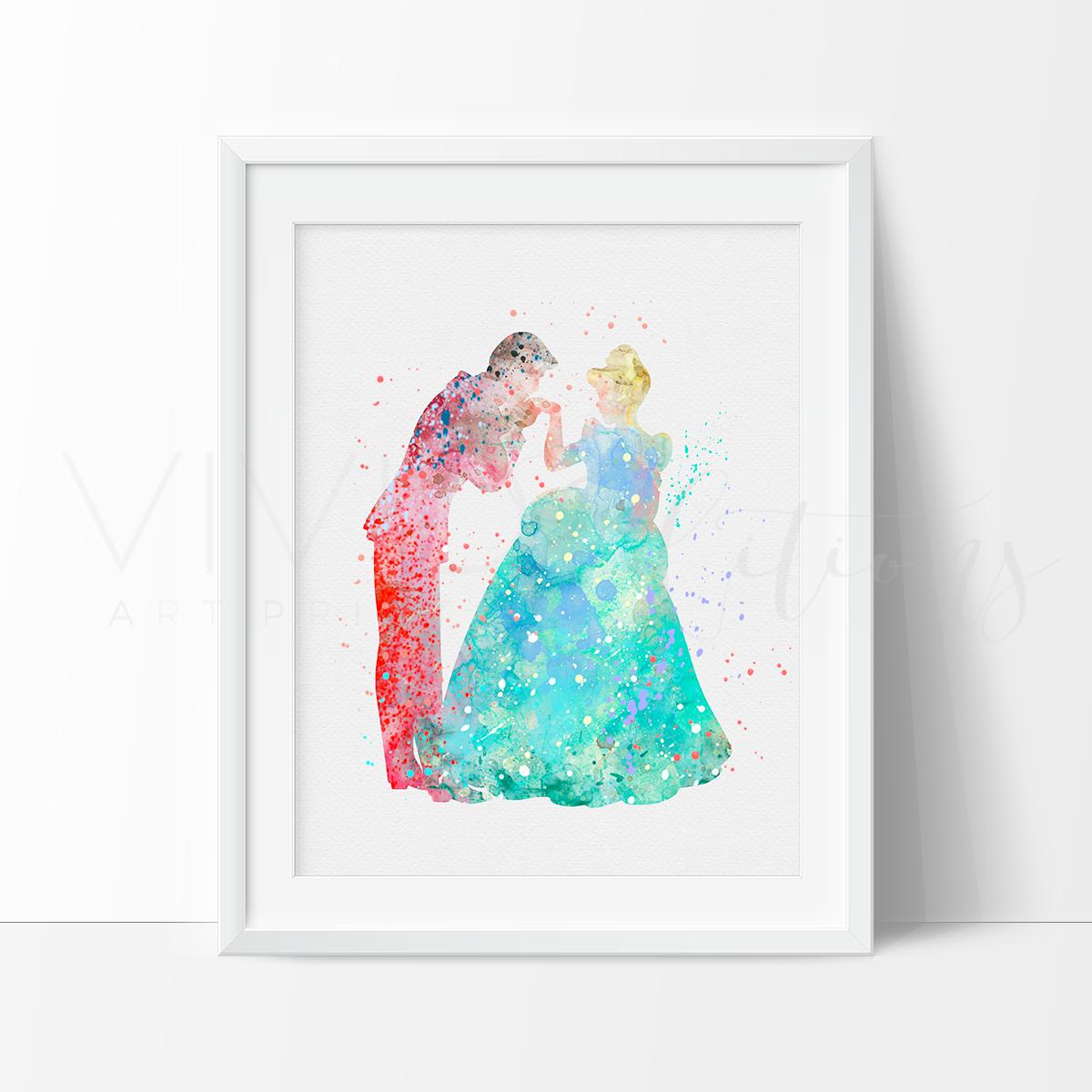 1200x1200 Cinderella Amp Prince Charming Princess Baby Girl Nursery Art Print