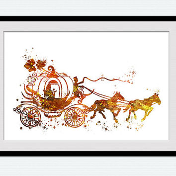 354x354 Cinderella Carriage Watercolor Poster From Colorfulprint On Etsy