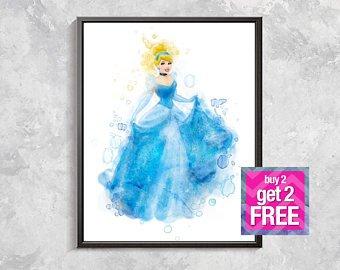 340x270 Cinderella Print Disney Princess Watercolor Cinderella Art Etsy