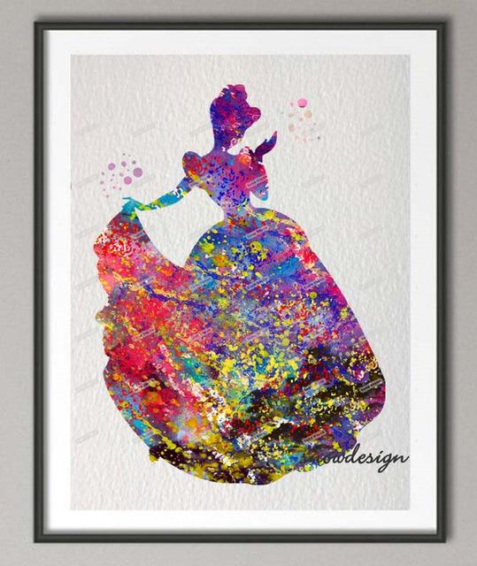 539x640 Diy Original Watercolor Princess Cinderella Canvas Painting Wall