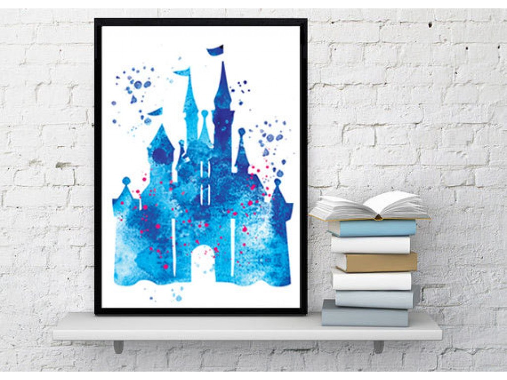 1024x768 Disney Castle Watercolor Art Print Disney Cinderella Castle