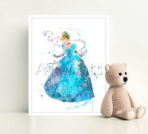 300x273 Cinderella Disney Print Poster Watercolor Framed Canvas Wall Art