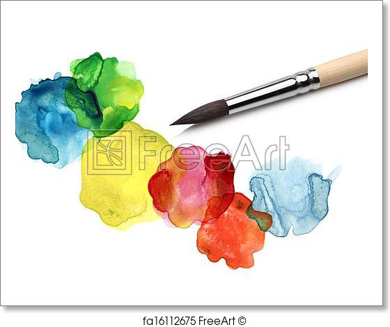 560x470 Free Art Print Of Brush And Bstract Circle Watercolor Painting