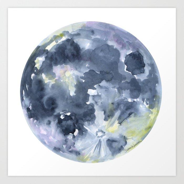700x700 Full Moon Watercolor Art Print By Susanwindsor Society6