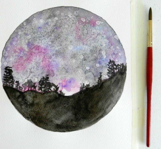 650x601 How To Paint A Night Sky In Watercolor Two Tutorials