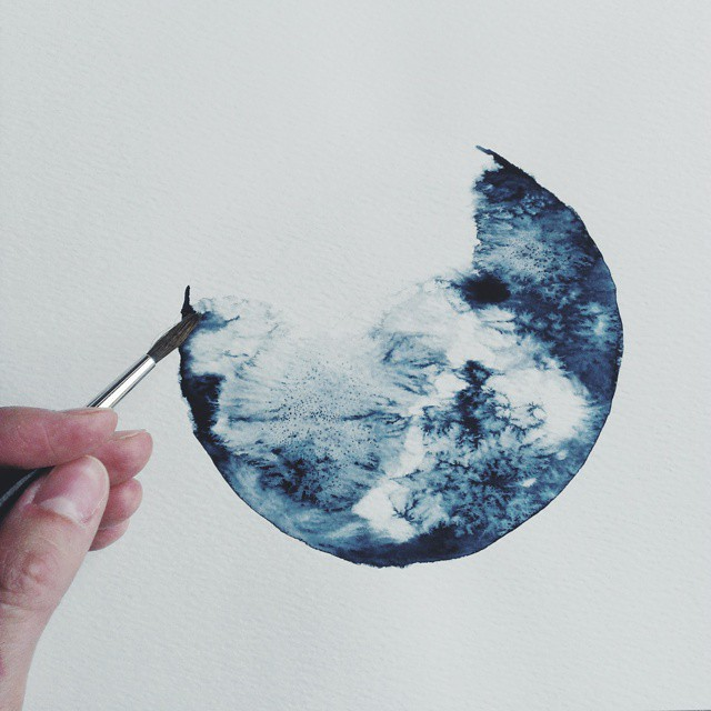 640x640 Monochromatic Watercolor Paintings Exquisitely Depict Cratered