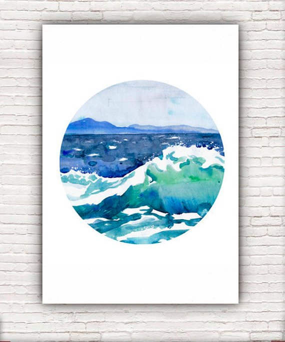 570x683 Ocean Painting Circle Art Wave Watercolor Landscape Abstract Etsy