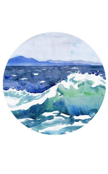 455x730 Ocean Painting Circle Art Wave Watercolor Landscape Abstract