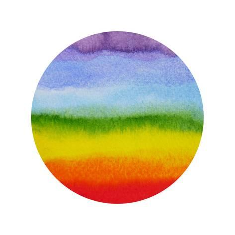 473x473 Abstract Rainbow Circle Shape,chakra Aura Power, Watercolor Pain