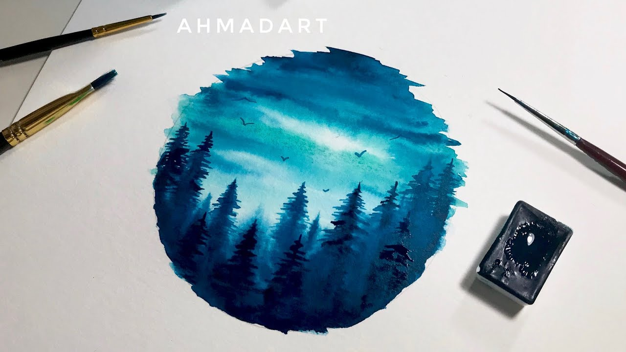 1280x720 Simple Watercolor Forest Circle Tutorial For Beginners