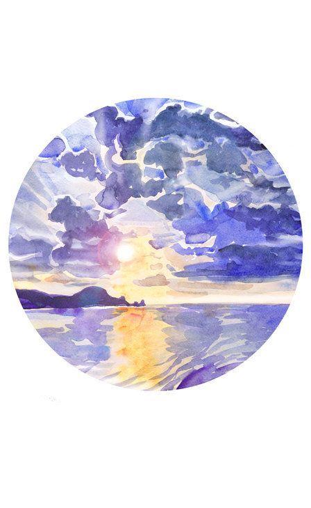 448x730 Sunset Painting Circle Art Sunrise Wall Art Ocean Watercolor