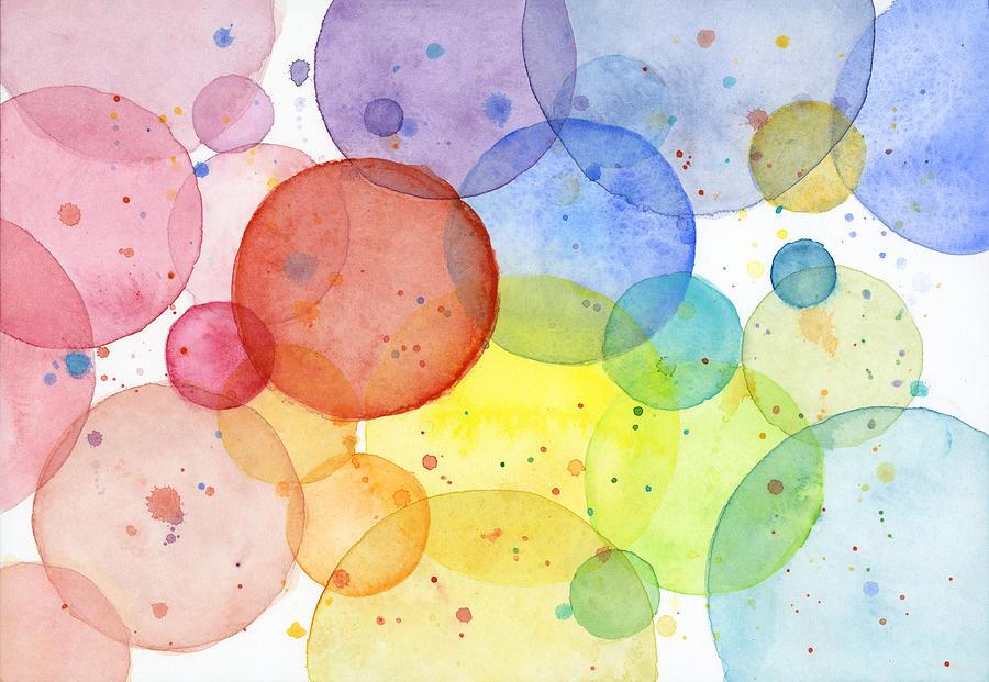 900x621 Abstract Watercolor Rainbow Circles Painting By Olga Shvartsur