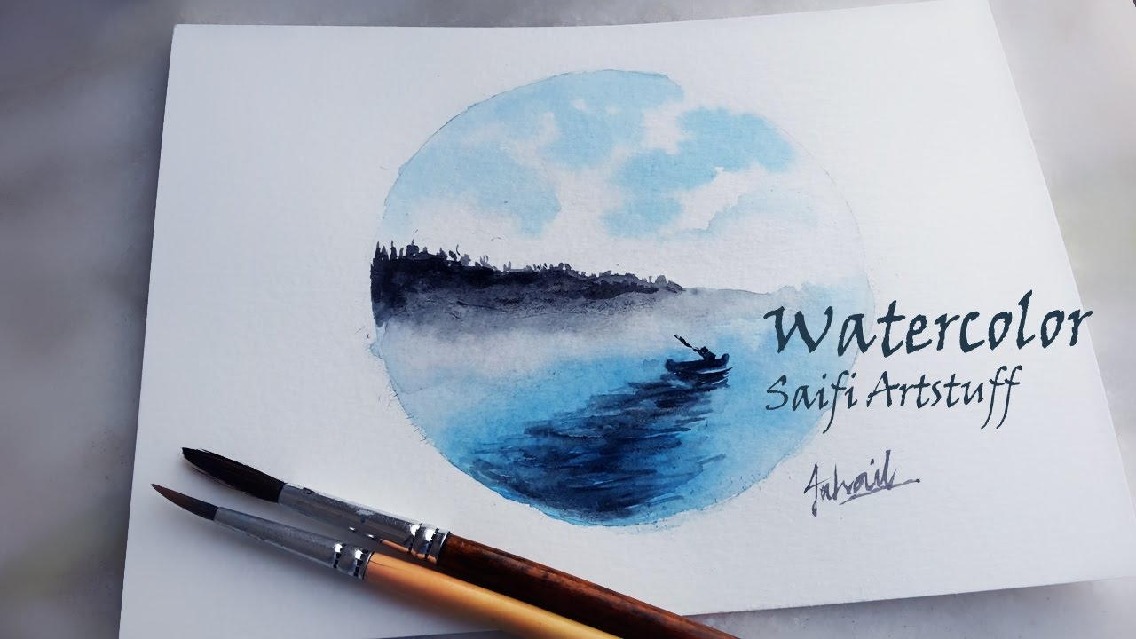 1280x720 Watercolor Circle Landscape Of Ocean (By Using Blue And Black ) By