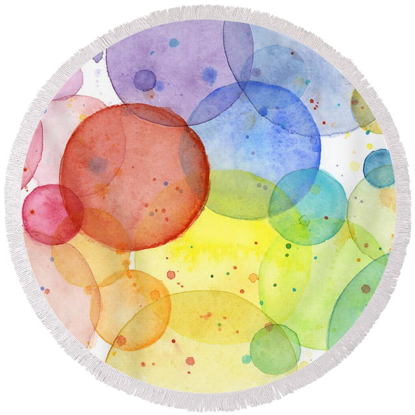 850x850 Abstract Watercolor Rainbow Circles Round Beach Towel For Sale By