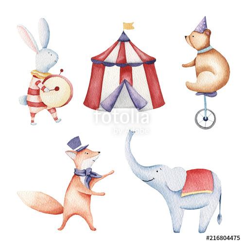500x500 Circus Watercolor Illustration, Elephant, Bunny, Fox, Birds Stock