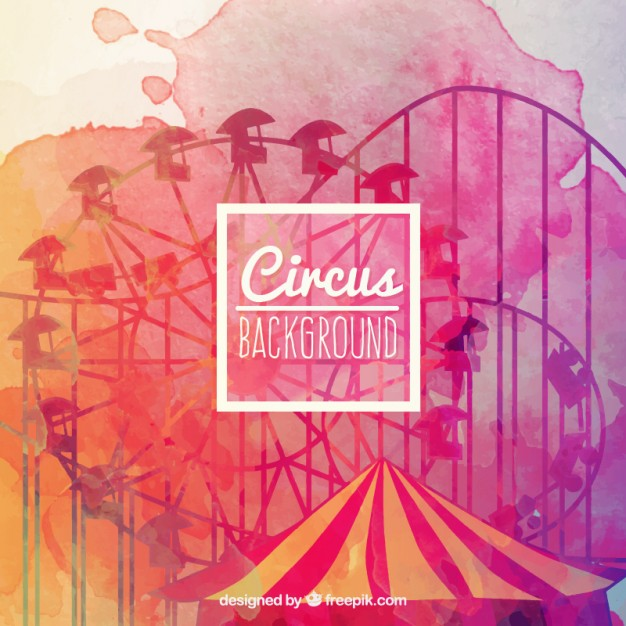 626x626 Watercolor Circus Background In Colorful Style Vector Premium