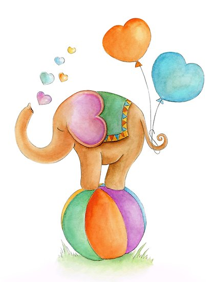 418x550 Brown Elephant Whimsical Circus Watercolor Art Posters By Sarah