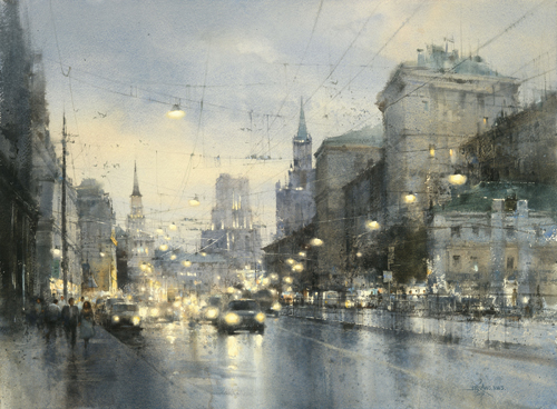 City Watercolor Painting
