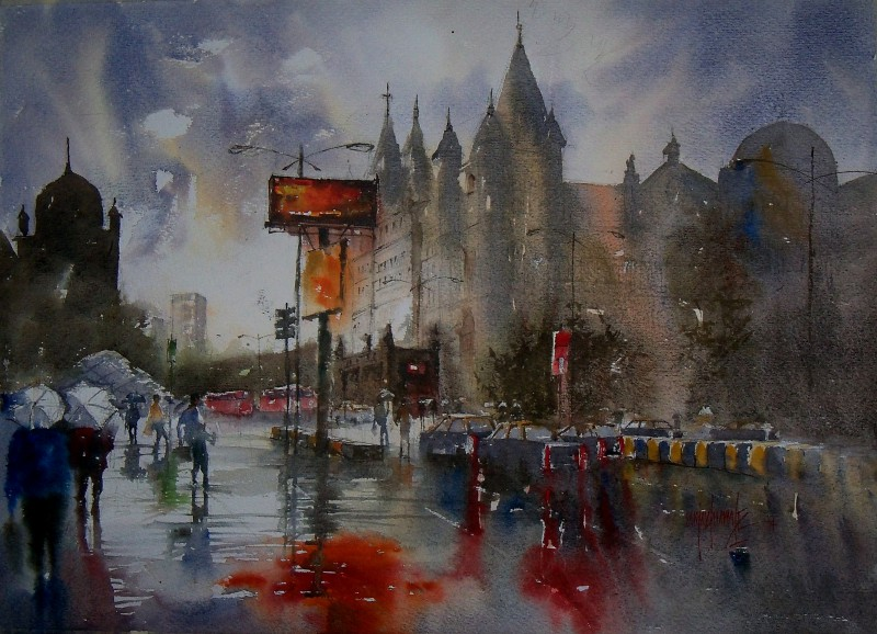 800x578 Dream City In Rain By Artist Sanjay Dhawale Cityscape Art