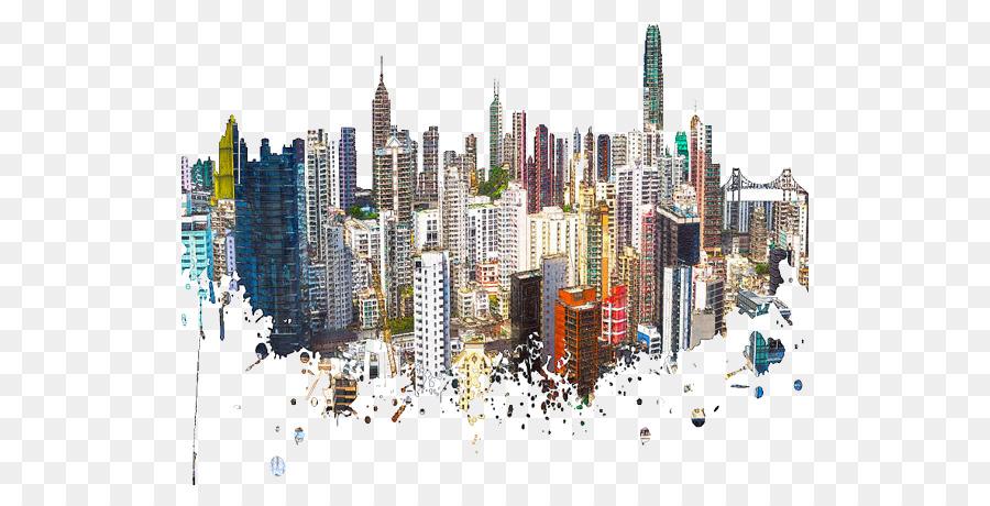 900x460 Hong Kong Skyline Watercolor Painting Poster Contemporary Art